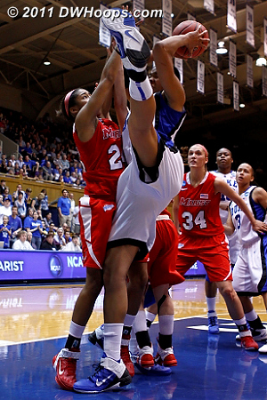 Krystal gets a crazy rebound  - Duke Tags: #34 Krystal Thomas 24 Corielle Yarde