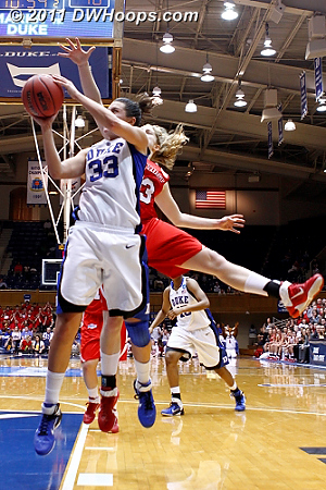 Peters would get to the line and make both  - Duke Tags: #33 Haley Peters